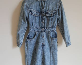 Vintage Denim Knee length Dress