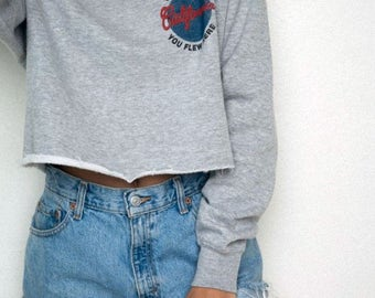 California We Grew Here You Flew Here cropped cutoff crewneck - brandy melville inspired