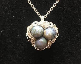 Silver Wire Birds Nest Necklace with Blue Stone Beads