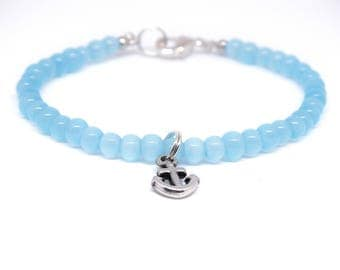 Pearl bracelet with anchor, blue / silver