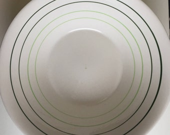 vintage green striped  serving bowl
