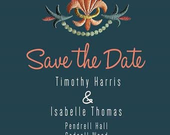 Embroidered Save the Date