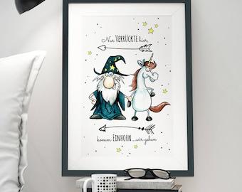 A3 Print Illustration Poster Unicorn Quote P18