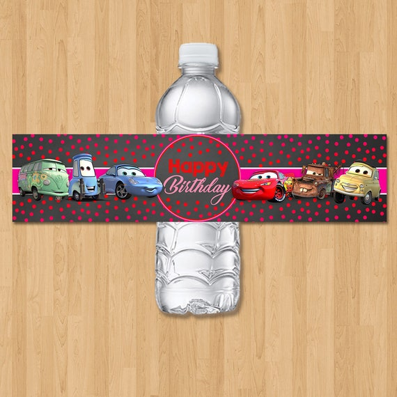 Disney Cars Drink Label - Chalkboard Orange & Red - Disney Cars Birthday Party - Girl Disney Cars Party Favor Disney Cars Water Bottle Label