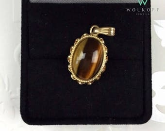 "The ""Tiger"": 14K Tiger Eye Pendant - 14K Yellow Gold, Fine Jewelry"