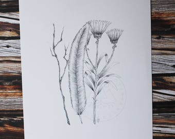 Feather, flower posy, freehand pen drawing, art print.
