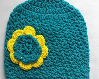 Crochet green baby hat