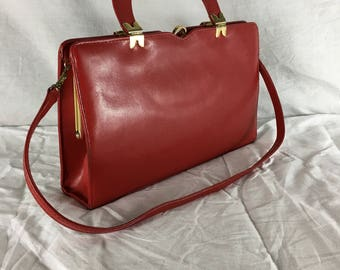 Ackery of London Red Leather and Brass Vintage 60s Handbag