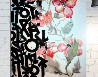 Flowers with calligraphy
