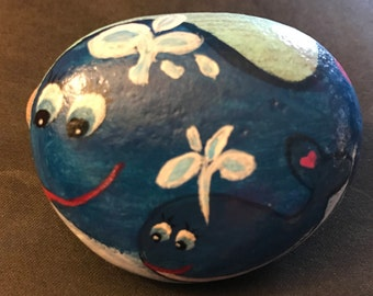 Mama and Baby Whale--Mother's Day-- Painted Rock & Paperweight