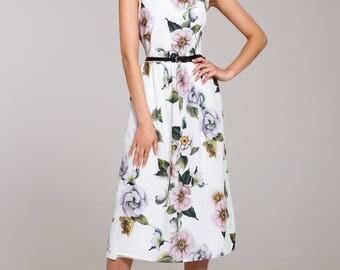 White summer dress, summer midi dress, floral dress, white sleeveless dress, casual summer dress, printed dress, vacation dress, white dress