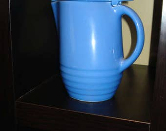 PRICE REDUCED!  1940s Blue Water Pitcher with Lid, Mint Condition
