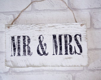 Mr and Mrs wedding hand-painted reclaimed wood plaque/sign,vintage style,rustic,shabby