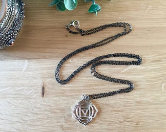 Chakra pendant necklace on a black chain, all chakras available, perfect yoga spiritual gift