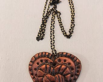 Copper Polymer Clay Heart Necklace