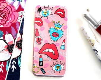 iPhone 7 Soft Silicone Makeup Sweet 16 Diva Lipstick Nail Polish Diamond Bling Evil Eye Cell Phone Case, Birthday Gift For Daughter Under 20