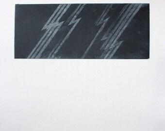 Lightning 01 etching print on chine-collé