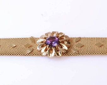 18K Yellow Gold Vintage Bracelet Ornamented with Purple Gem Flower