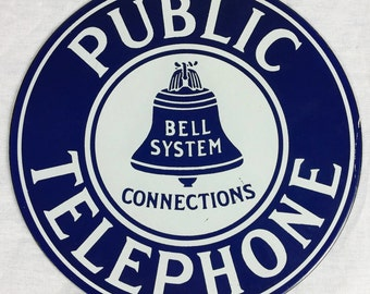 Round Bell Telephone Sign - Vintage