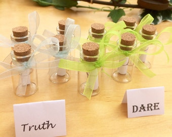 Beautiful Truth or Dare party game, 9 glass bottles, customise the game!