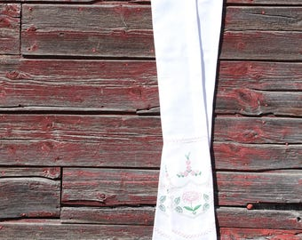white clergy stole with upcycled hand embroidered flowers and handmade lace for communion, weddings, baptism