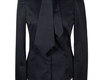 Blouse with stand-up collar and necktie