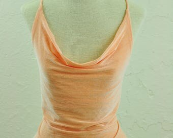 The Keira: 90s Peach Square Neck Crop Top with Strappy Back