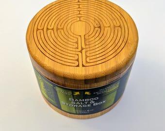 Labyrinth Bamboo Salt Box, Laser Engraved