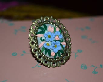 Oval Flower Bouquet Ring