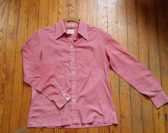 Red and White Checkered Camping Shirt 60s 70s - Medium