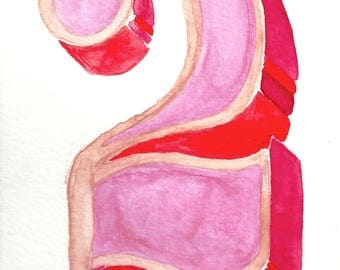 Watercolor Typography hand-painted number-art