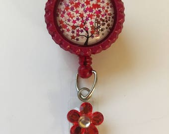 Red Tree of Life Retractable Badge