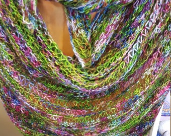 handknit shawl from hand-dyed Merino Wool multicolor