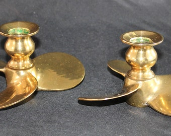 Brass Nautical Boat Propeller Candle Holders