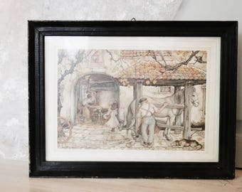 Vintage Fairytale Picture in Wooden Frame - Anton Pieck