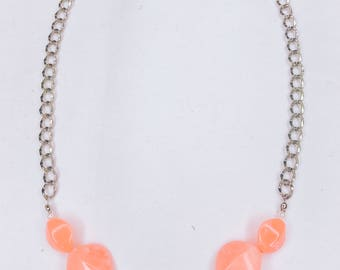 Gabriella - cute and simple, orange and white beads handmade necklace