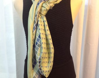 Unique scarf made from ties recycle 100% silk