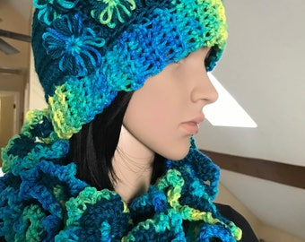Crochet Scarf And Hat Set - Crochet clothing - Crocheted Item - Crochet Scarf - Crochet Hat - Women's Clothing - Women's Gifts