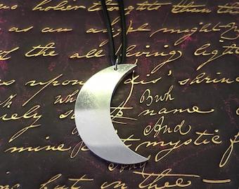 Crescent moon aluminium pendant