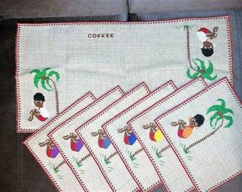 Vintage Handmade Coffee Table Cover Set Center Piece 6 Coffee Mug Coasters
