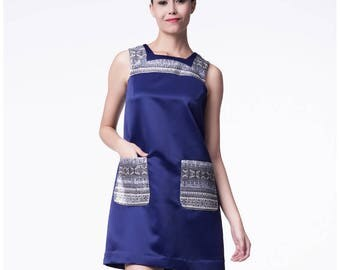 Satin Dress in Textured Geometry