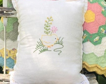 Hand Embroidered Chickie Vintage Embossed Linen Pillow For Nursery