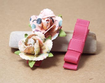 Baby Hair Clips, Small Hair Bows, Clip Set, Flower Clips, Tuxedo Bows, Pink, Raspberry, Floral, Flowers