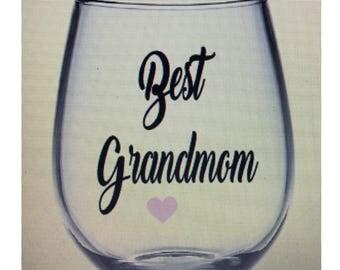 Grandma wine glass. Grandmom wine glass. Gift for grandmom Gramma wine glass. Mom mom wine glass. Gift for grandma. Grandmom gift. Grandmom