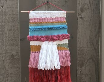 Woven Tapestry-blue and pink