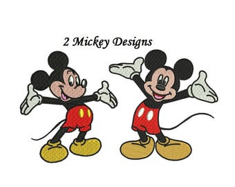 Mickey Mouse Embroidery Design - 2 designs 3,4,5,6 inch each figure - Mickey Mouse Embroidery INSTANT DOWNLOAD