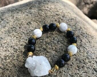 Beaded geode bracelet