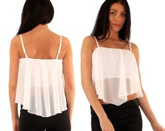 Floaty white cami top, new