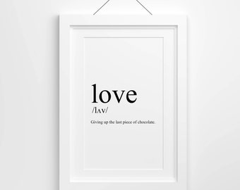 Love Definition, Love Print, Print, Love Quote, Printable, Download
