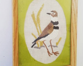 Vintage 1970s Hand Embroidered Piping Plover Framed Art. Framed Embroidered Wall Hanging. Vintage Embroidery. 1970s Wall Hanging.